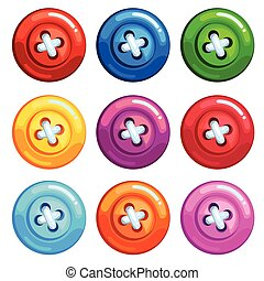 A set of colored buttons