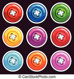 A set of colored cartoon buttons