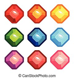 A set of colored gems