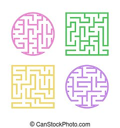 A set of colored labyrinths for children. A square, round maze. Simple flat vector illustration isolated on white background.