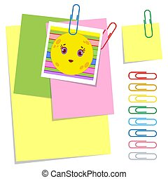 A set of colored office sticky and ordinary sheets and paper clips. Simple flat vector illustration isolated on white background.