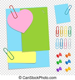 A set of colored office sticky sheets of different shapes, buttons and clips. A simple flat vector illustration isolated on a transparent background.