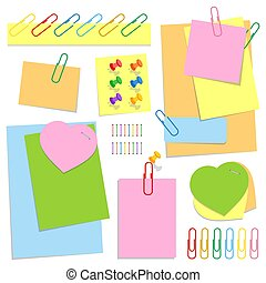 A set of colored office sticky sheets of different shapes, push pins and clips. Simple flat vector illustration isolated on white background.