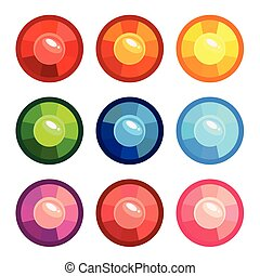 A set of colored round gems
