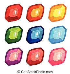 A set of colored sheet shape gems