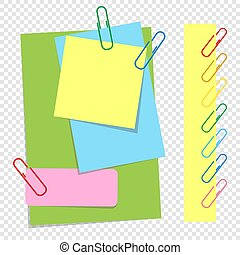 A set of colored sheets of different sizes and office clips. Lovely cartoon style. A simple flat vector illustration isolated on a transparent background.