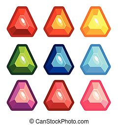 A set of colored triangle gems
