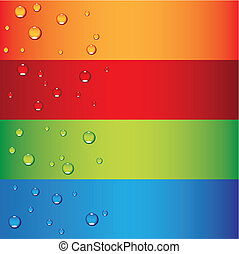 dew drops - a set of colorful banners with dew drops, vector...