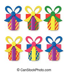 A set of colorful gift boxes. Vector illustration.