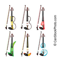 A Set of Colorful Violins on White Background