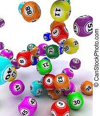 a set of colouored bingo balls - 3d render of a set of...