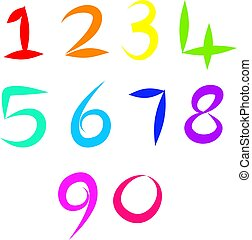 number icons - A set of colourful and simple hand drawn...