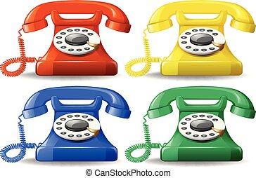 A set of colourful classic telephone