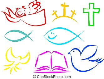 Christian icons - A set of colourful simple line drawing...