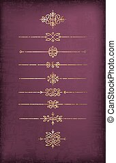 A set of cracked old-style gold dividers on a noble dark purple background