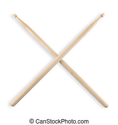 set of crossed drum sticks isolated on white