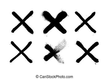 A set of crosses made with a spray. Vector illustration highly detailed template for background or design.