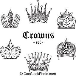 A set of crowns for design. Black-and-white illustration.