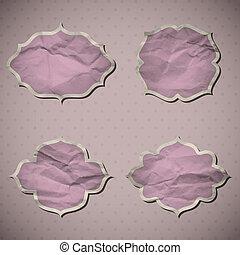 A set of Crumpled paper frames. Vector illustration. Eps10.