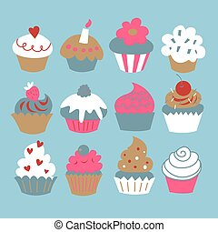 A set of cupcakes on a blue background