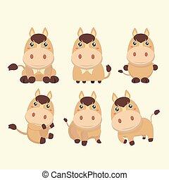 A set of cute brown cartoon horses.
