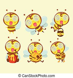 A set of cute cartoon bees.