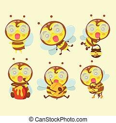 A set of cute cartoon bees.