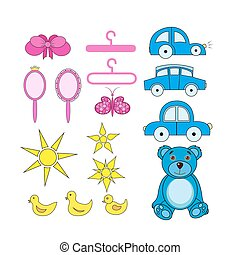 A set of cute cartoon icons for newborn baby. Baby shower elements.