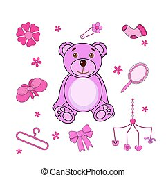 A set of cute cartoon icons for newborn baby girl. Baby shower elements.