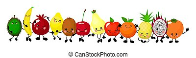 A set of cute fruit. Illustration with funny characters. Love and hearts. Funny food. time fresh. Orange, apple, watermelon, kiwi, carrot, pear, pineapple..