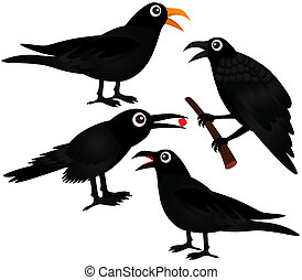 A set of cute Vector Icons : Black Birds - Crows