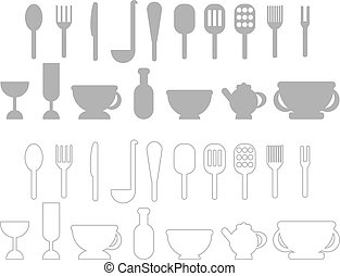 A set of cutlery. Vector illustration.