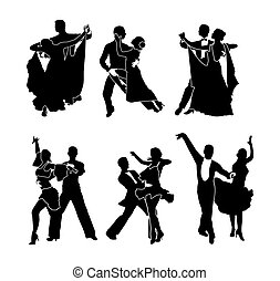 A set of dancing couples. Vector illustration. Black silhouette