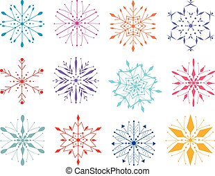 A set of decorative colorful snowflakes