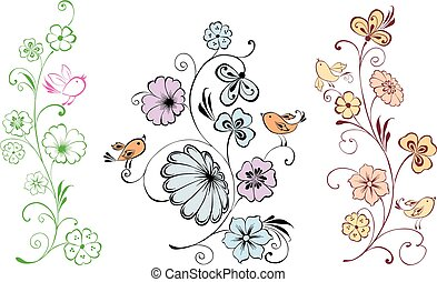 A set of decorative floral twigs with birds