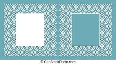 A set of decorative panels for laser cutting with a geometric pattern for cutting out paper, wood, metal. Photo frame. Frame. Vector illustration.