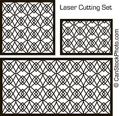 A set of decorative panels for laser cutting with a geometric pattern for cutting out paper, wood, metal. Decoration. Element of design. 1: 1, 1: 2, 2: 3. Vector illustration.