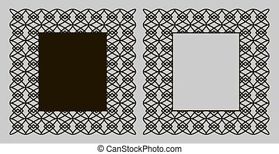 A set of decorative panels for laser cutting with a geometric pattern for cutting out paper, wood, metal. Frame. Vector illustration.