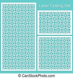 A set of decorative panels for laser cutting with a geometric pattern for cutting out paper, wood, metal. Cabinet grille. Template. Element of design. 1: 1, 1: 2, 2: 3. Vector illustration.