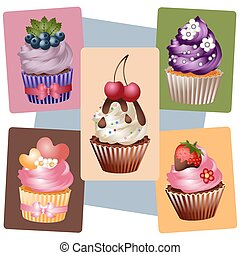 A set of delicious cupcakes for creativity and design
