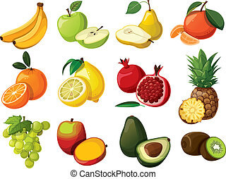 A set of delicious fruit. Isolated on white background.