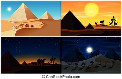 A set of Desert Scene Day and Night
