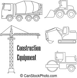 A set of design elements for construction. Five types of the construction equipment.