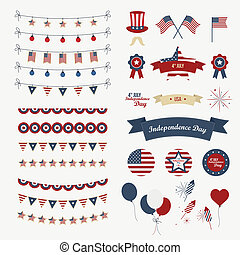 A set of design elements for Independence Day. 4th of July...