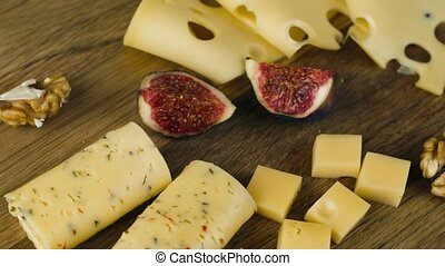 A set of different cheeses