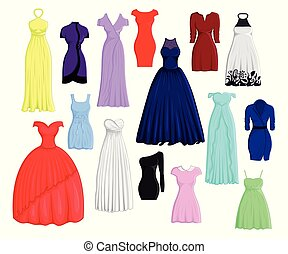 A set of different dresses