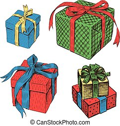 A set of different gifts boxes