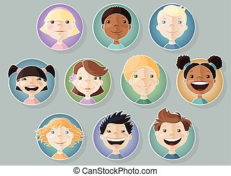 A set of different kids faces