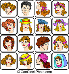 A set of different male and female hairstyles
