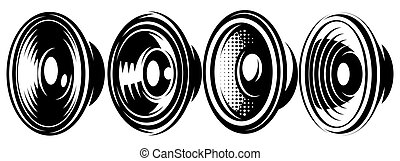 A set of different monochrome speakers. Vector illustration. Elements for design